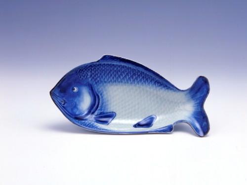 染付魚文魚形皿