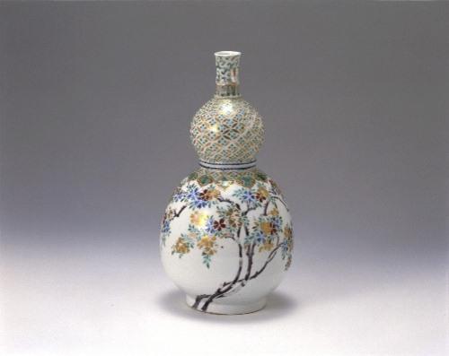 色絵桜花文瓢形瓶(仁清手)