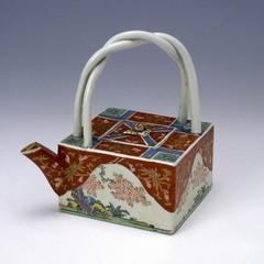 色絵桜樹文角形銚子