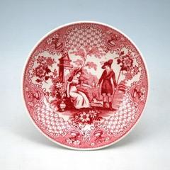 紅彩人物犬文皿(銅版転写)