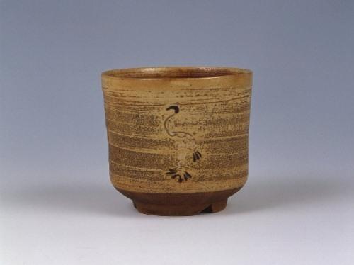 白釉御本立鶴写筒茶碗
