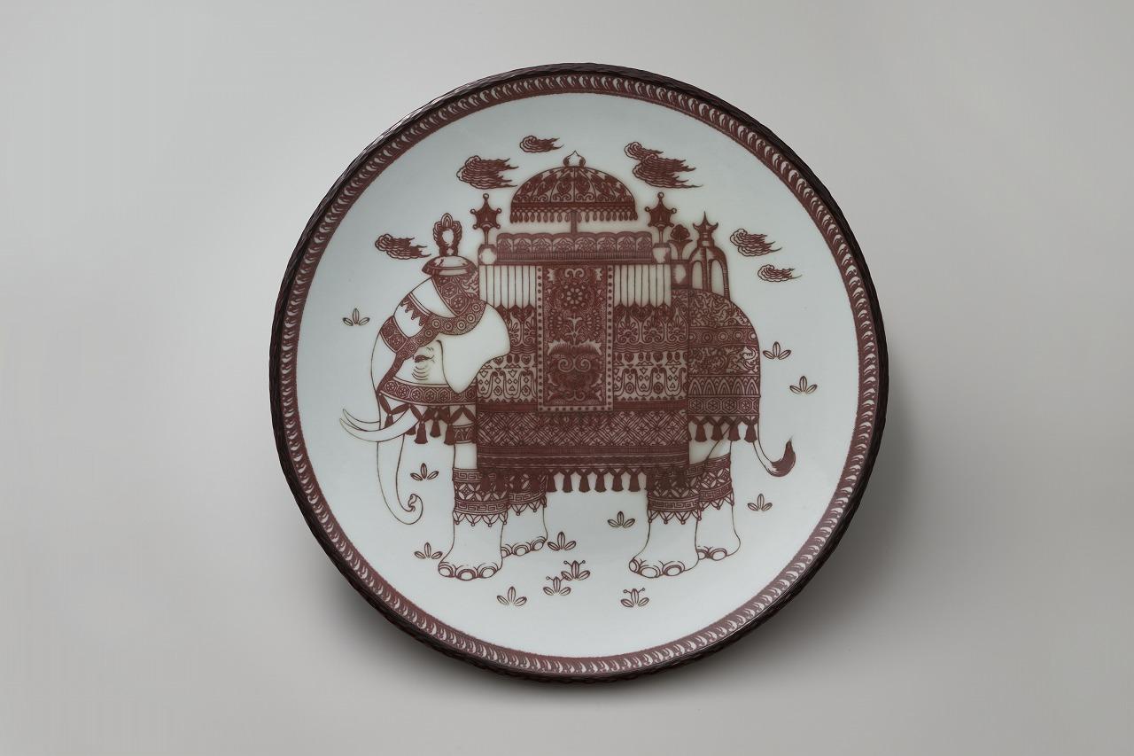 釉裏紅霊獣文大鉢