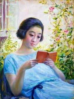 岡田三郎助《少女読書》 1924(大正13)年