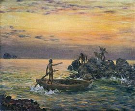 青木 繁《繊月帰舟》1910(明治43)年、個人蔵(佐賀県立美術館寄託)