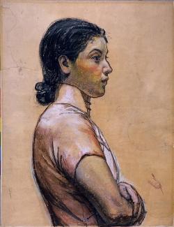 岡田三郎助 《婦人半身像(下絵)》 1936(昭和11)年