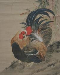 牛島藍皐「鶏図」(部分)