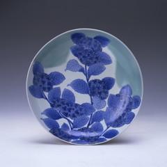 青磁染付紫陽花文皿