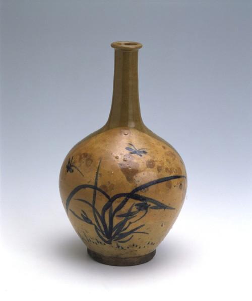 呉須絵蘭竹文瓶
