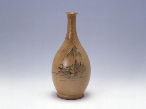 呉須絵山水文瓶(京焼風陶器)