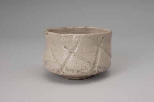 灰釉彫文茶碗 銘 玄海