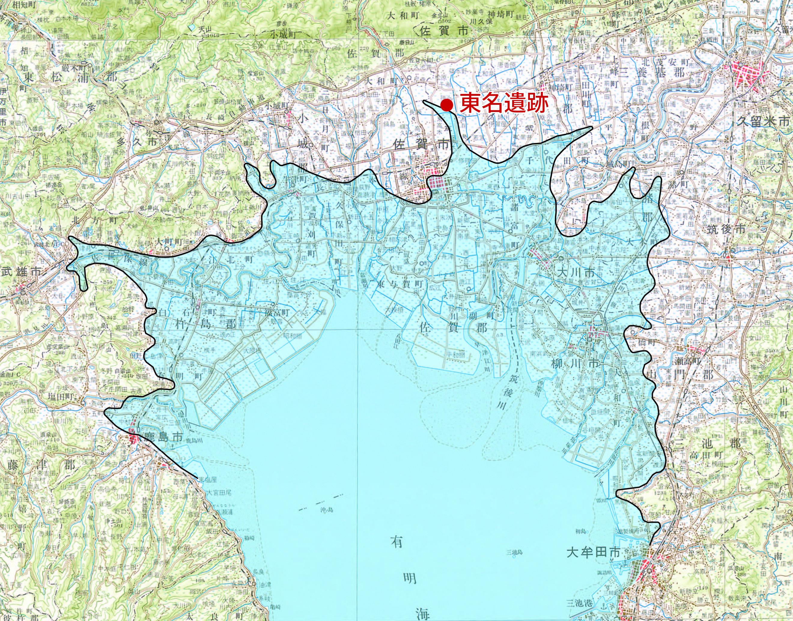 図3 縄文海進ピーク時期の筑紫平野(縄文海進)_14783_marked.jpg