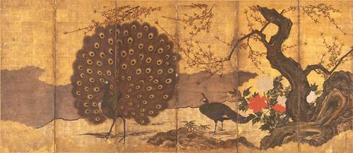 狩野高信《四季孔雀図屏風》