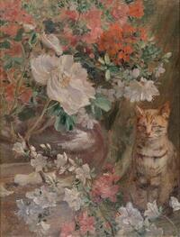 黒田清輝《花と猫》1906年(明治39)、愛知県美術館蔵_18199_marked.jpgのサムネイル画像