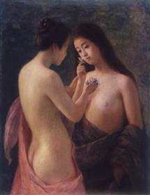 岡田三郎助《花をもてる裸婦(花の香)》公益財団法人ウッドワン美術館蔵