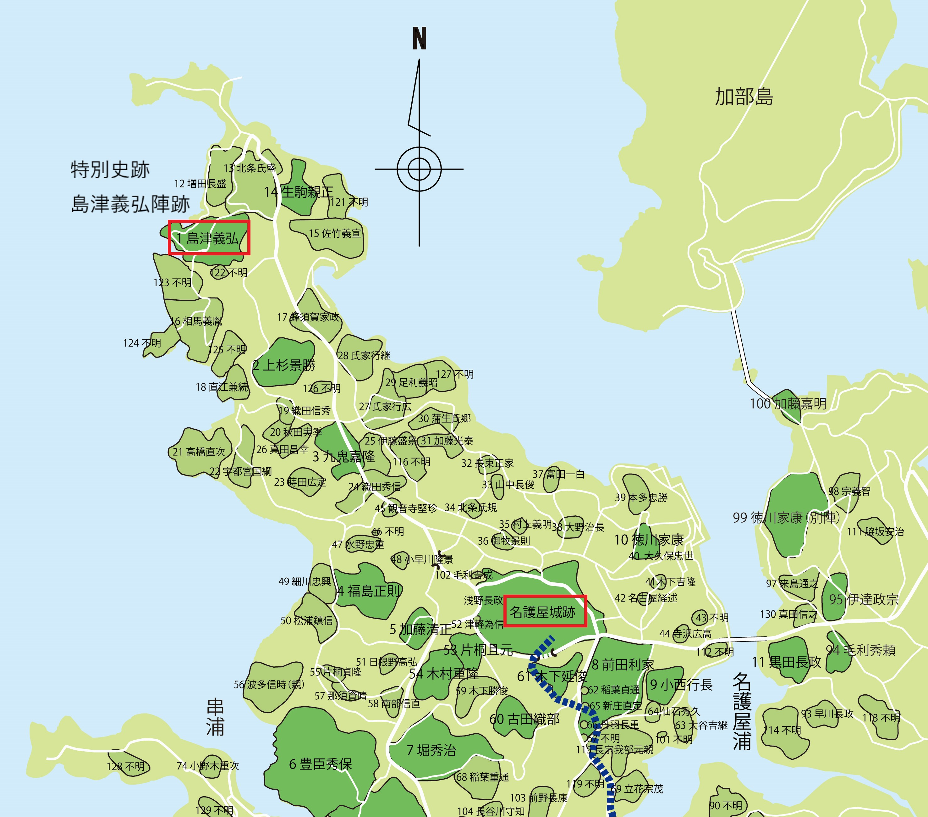 島津義弘陣跡の位置